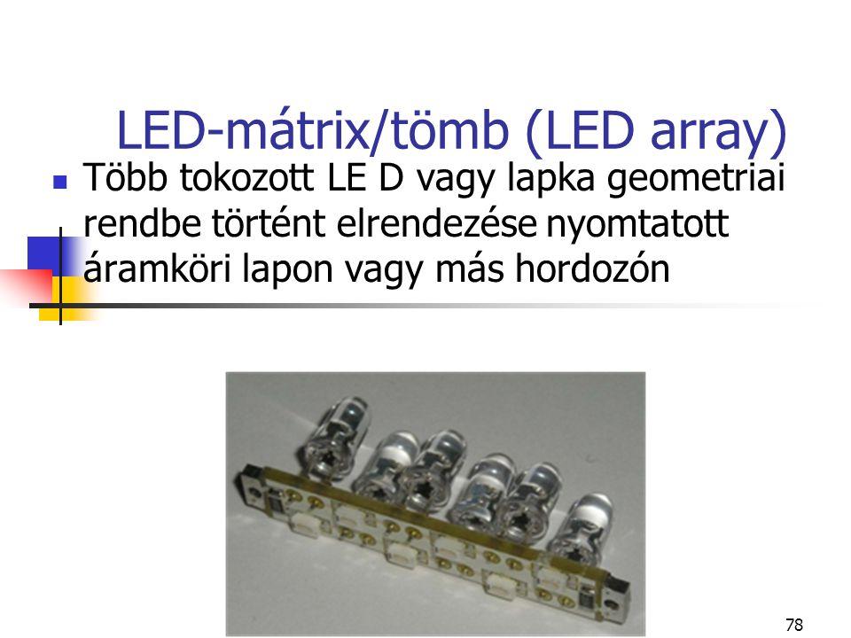 78 LED-mátrix/tömb (LED array) Több tokozott LE D vagy lapka geometriai rendbe történt elrendezése nyomtatott áramköri lapon vagy más hordozón