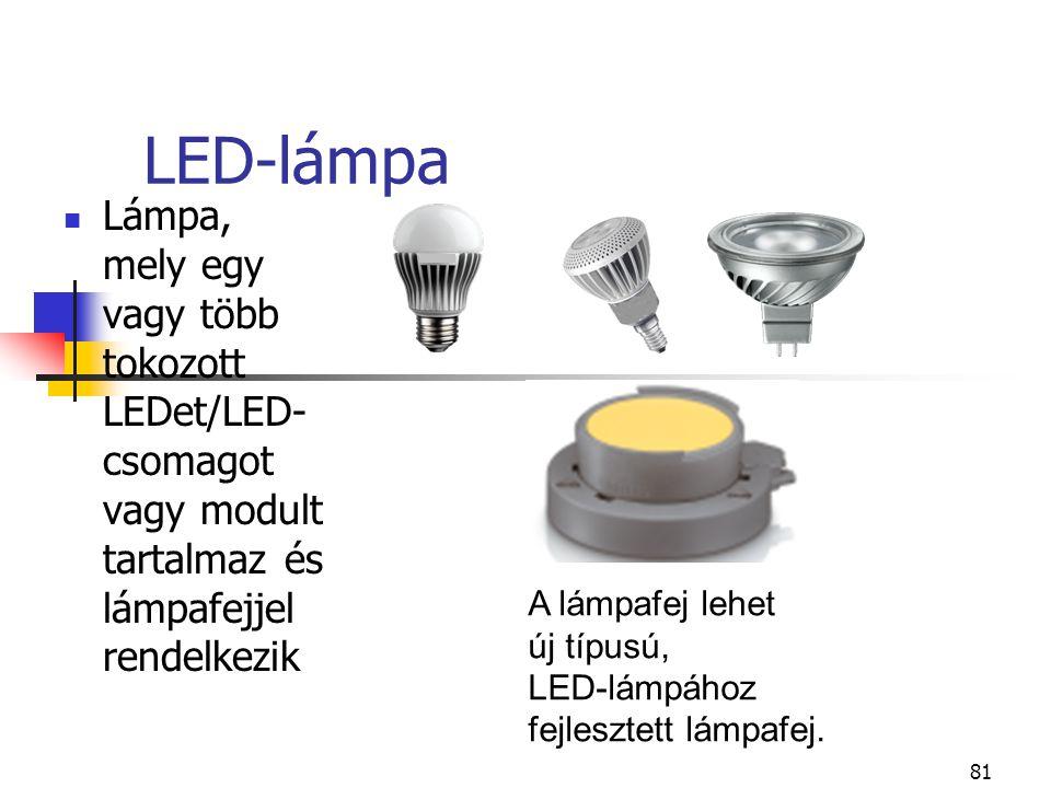 81 LED-lámpa Lámpa, mely egy vagy több tokozott LEDet/LED- csomagot vagy modult tartalmaz és lámpafejjel rendelkezik A lámpafej lehet új típusú, LED-l
