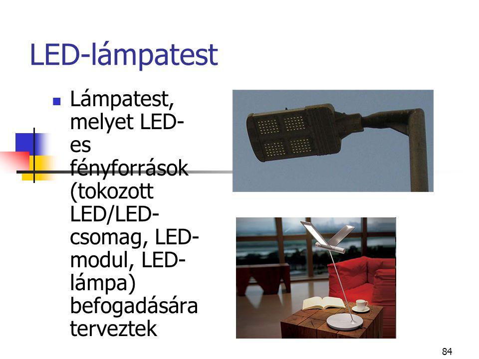 84 LED-lámpatest Lámpatest, melyet LED- es fényforrások (tokozott LED/LED- csomag, LED- modul, LED- lámpa) befogadására terveztek
