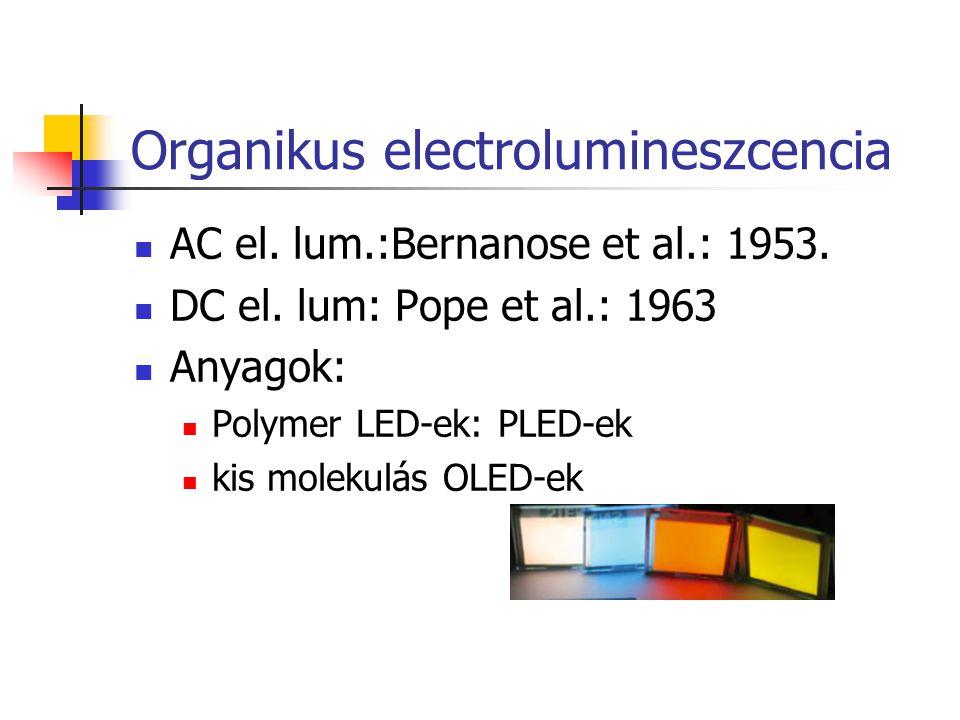Organikus electrolumineszcencia AC el. lum.:Bernanose et al.: 1953. DC el. lum: Pope et al.: 1963 Anyagok: Polymer LED-ek: PLED-ek kis molekulás OLED-
