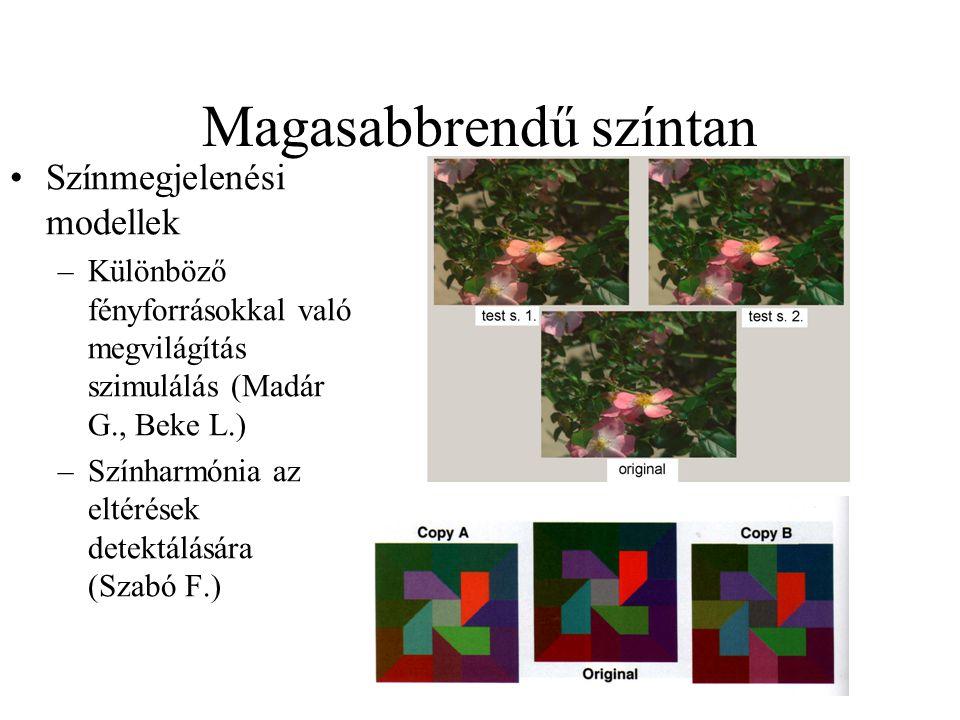 Magasabbrendű színtan Színmegjelenési modellek –Különböző fényforrásokkal való megvilágítás szimulálás (Madár G., Beke L.) –Színharmónia az eltérések detektálására (Szabó F.)