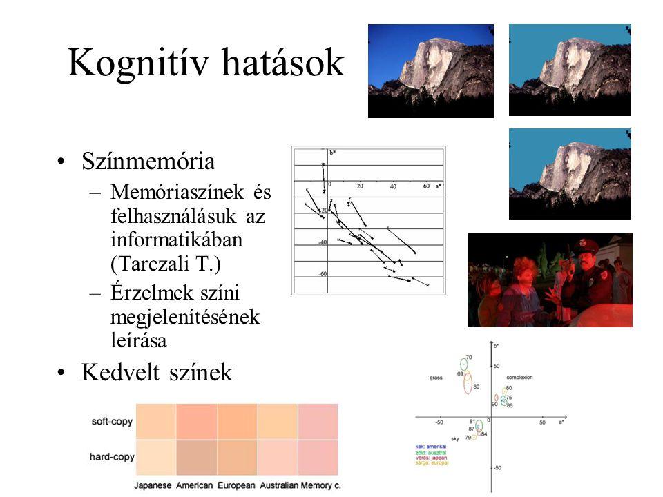 Kognitív hatások Színmemória –Memóriaszínek és felhasználásuk az informatikában (Tarczali T.) –Érzelmek színi megjelenítésének leírása Kedvelt színek –Kulturális különbségek