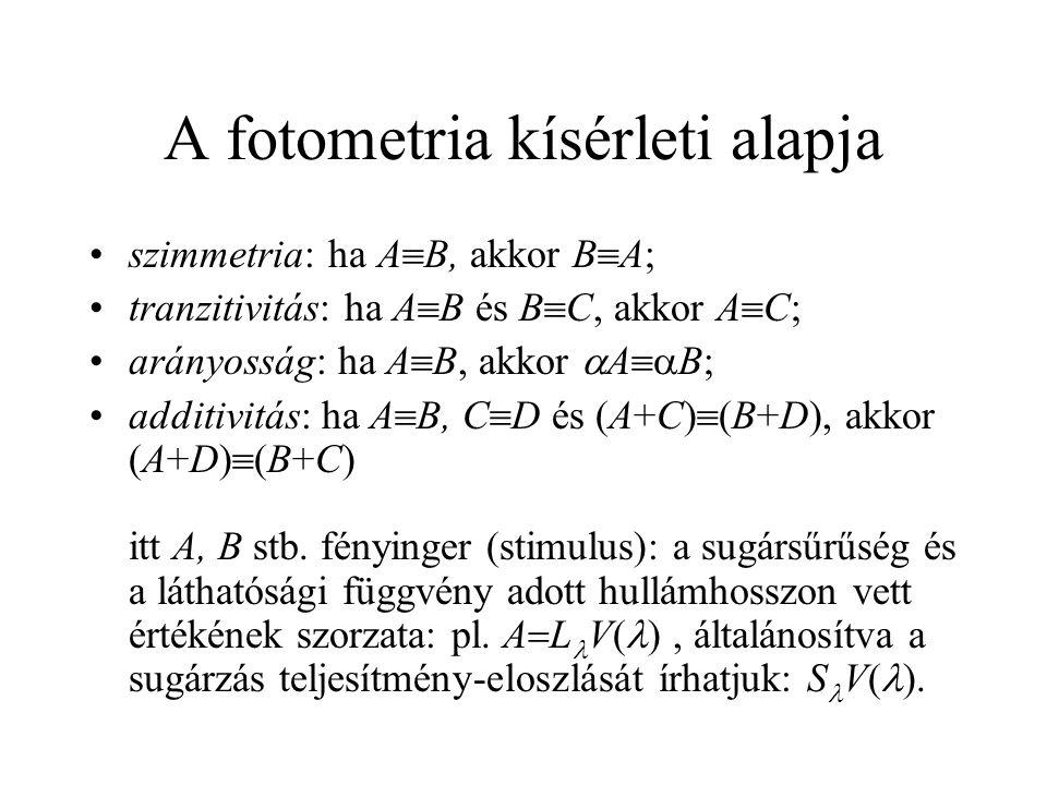 A fotometria kísérleti alapja szimmetria: ha A  B, akkor B  A; tranzitivitás: ha A  B és B  C, akkor A  C; arányosság: ha A  B, akkor  A  B;