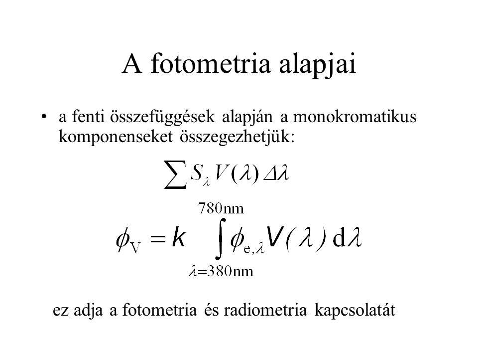 A fotometria alapjai a fenti összefüggések alapján a monokromatikus komponenseket összegezhetjük: ez adja a fotometria és radiometria kapcsolatát