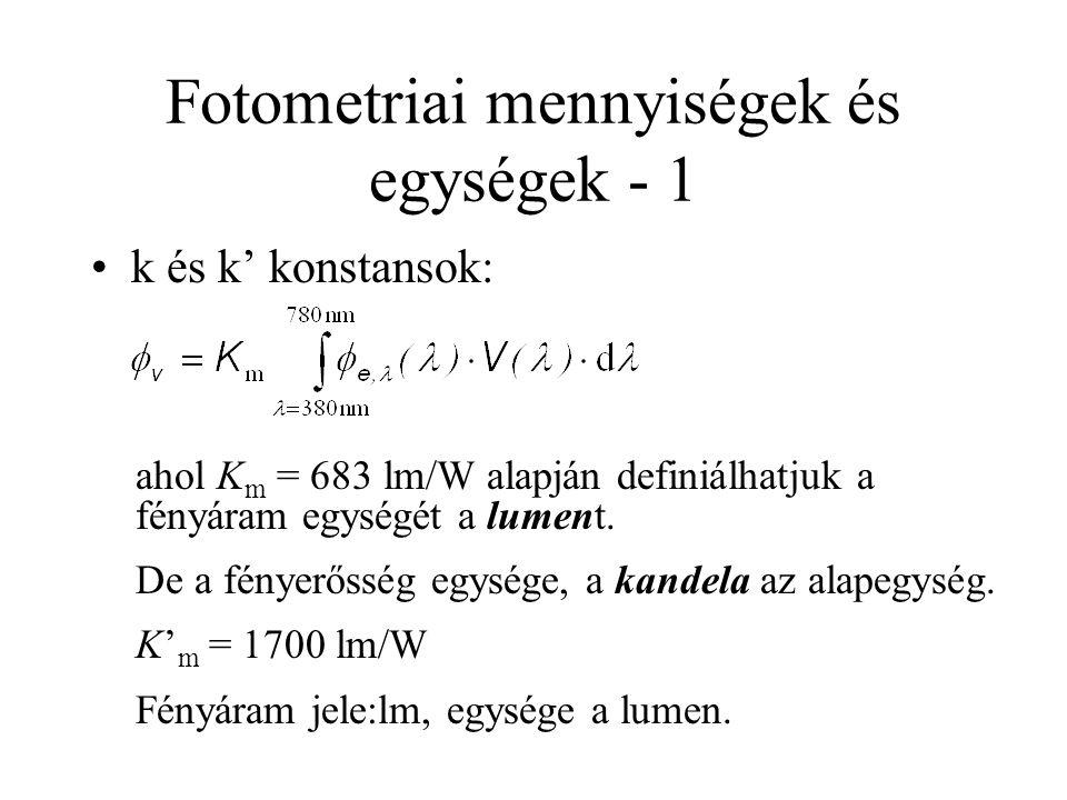 Fotometriai mennyiségek és egységek - 1 k és k' konstansok: ahol K m = 683 lm/W alapján definiálhatjuk a fényáram egységét a lument. De a fényerősség