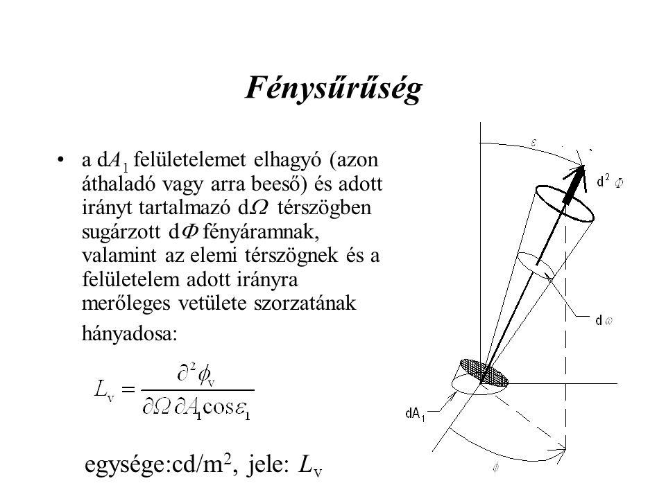 Fénysűrűség a dA 1 felületelemet elhagyó (azon áthaladó vagy arra beeső) és adott irányt tartalmazó d  térszögben sugárzott d  fényáramnak, valamint az elemi térszögnek és a felületelem adott irányra merőleges vetülete szorzatának hányadosa: egysége:cd/m 2, jele: L v