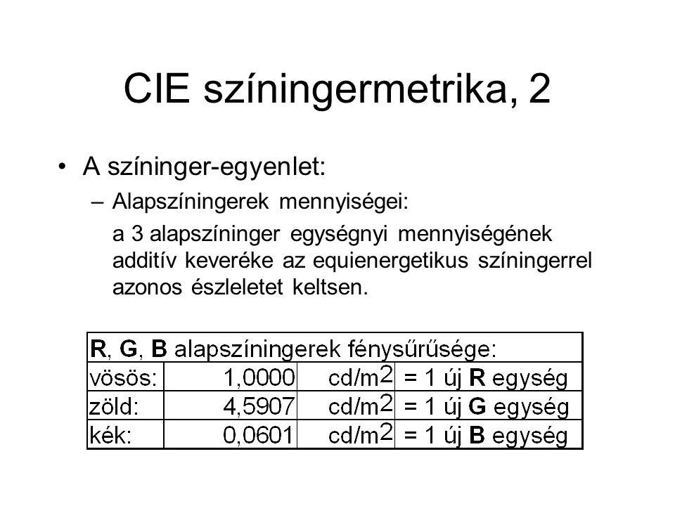CIE színingermetrika, 2 A színinger-egyenlet: –Alapszíningerek mennyiségei: a 3 alapszíninger egységnyi mennyiségének additív keveréke az equienergetikus színingerrel azonos észleletet keltsen.