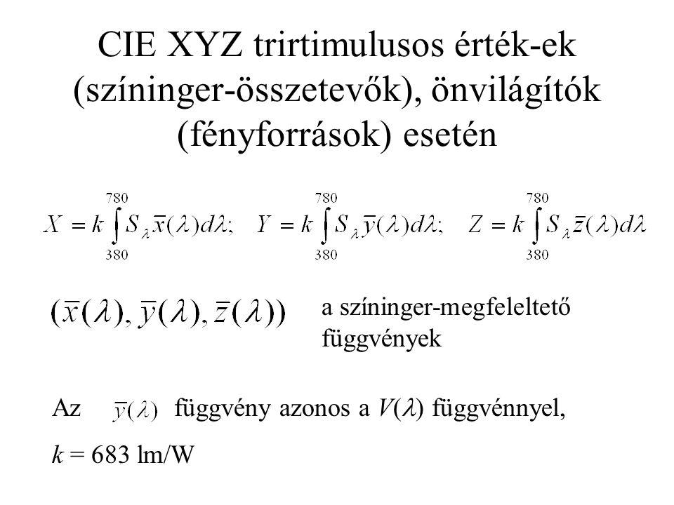 CIE XYZ trirtimulusos érték-ek (színinger-összetevők), önvilágítók (fényforrások) esetén a színinger-megfeleltető függvények Az függvény azonos a V( ) függvénnyel, k = 683 lm/W