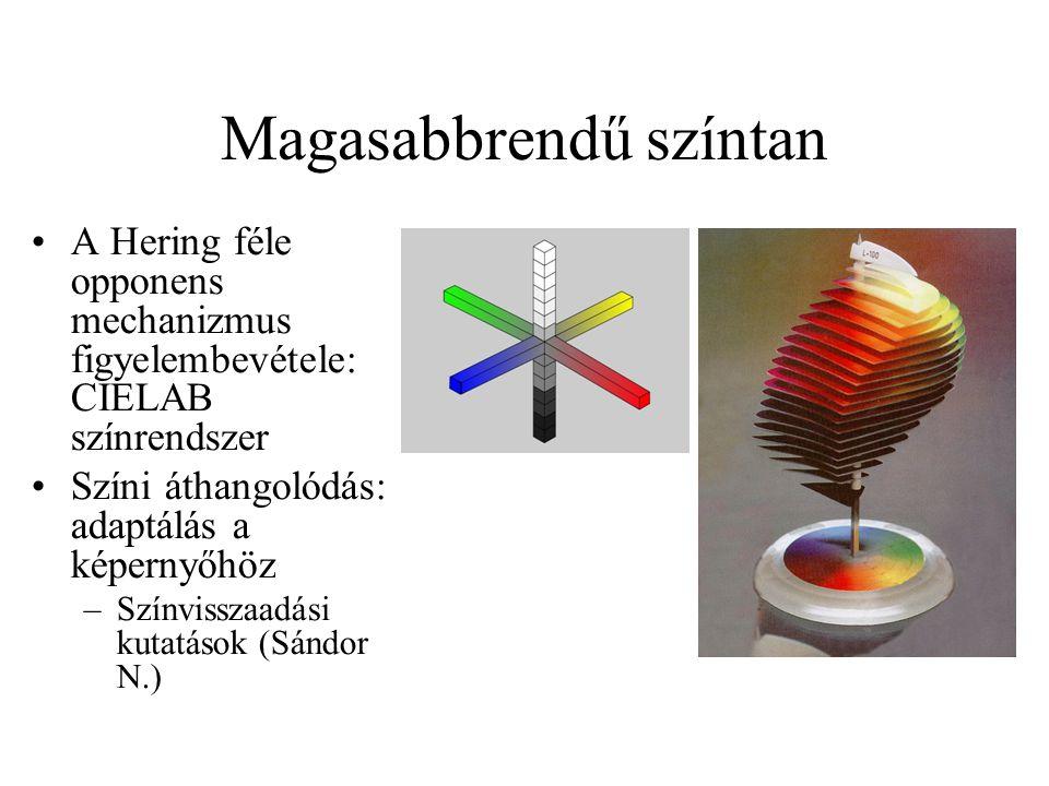 Magasabbrendű színtan A Hering féle opponens mechanizmus figyelembevétele: CIELAB színrendszer Színi áthangolódás: adaptálás a képernyőhöz –Színvissza