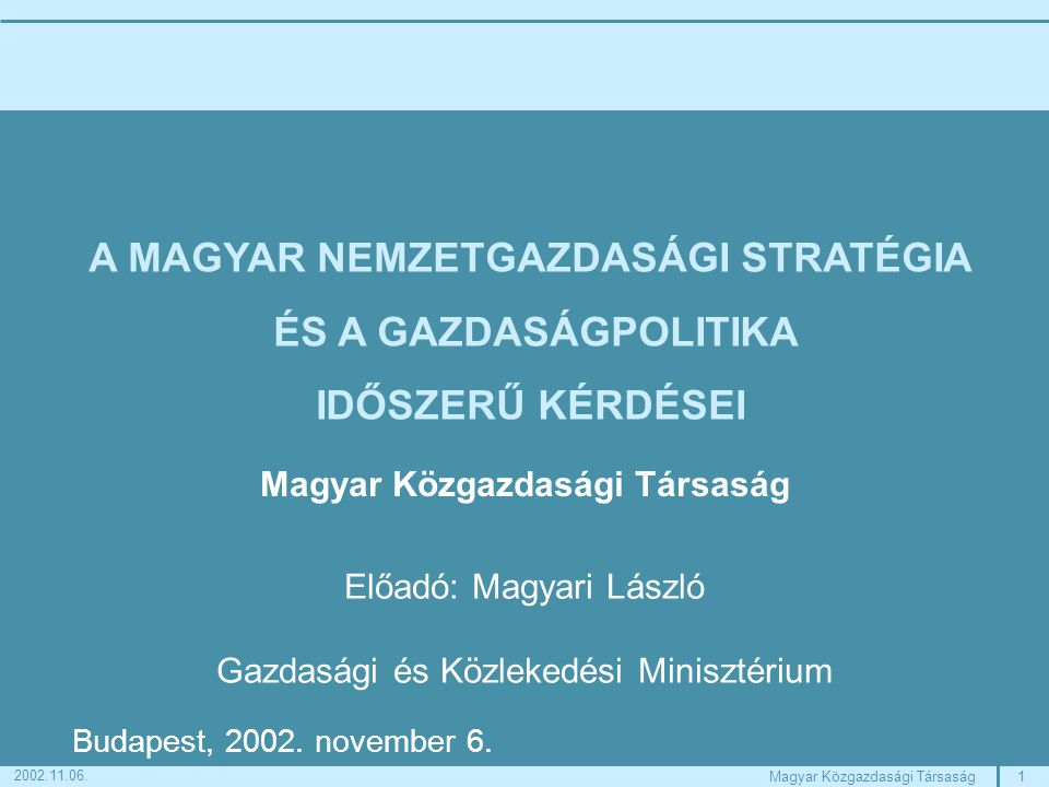 1Magyar Közgazdasági Társaság 2002.11.06.