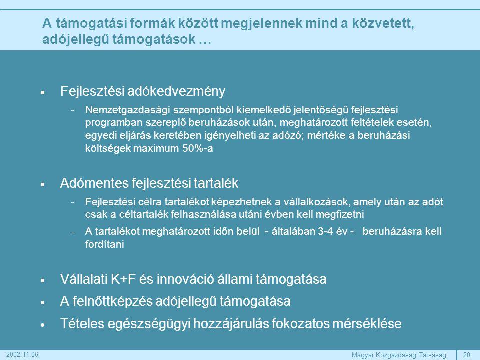 20Magyar Közgazdasági Társaság 2002.11.06.