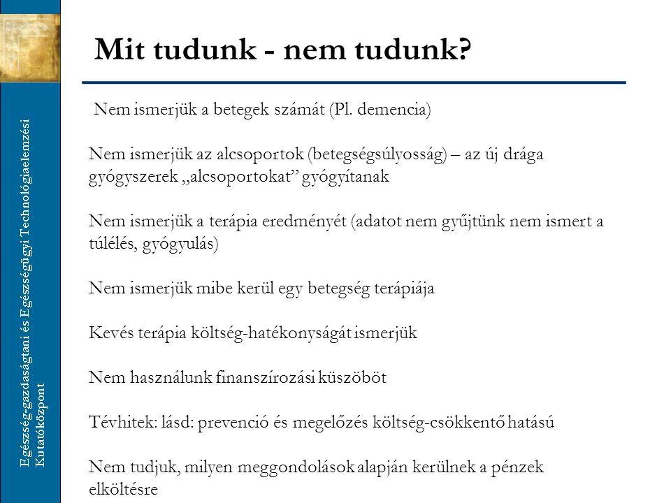"""Nem ismerjük a betegek számát (Pl. demencia) Nem ismerjük az alcsoportok (betegségsúlyosság) – az új drága gyógyszerek """"alcsoportokat"""" gyógyítanak Nem"""