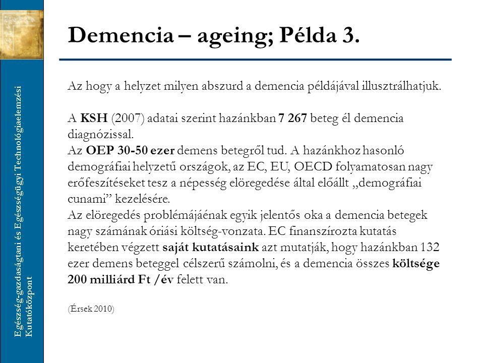 Az hogy a helyzet milyen abszurd a demencia példájával illusztrálhatjuk. A KSH (2007) adatai szerint hazánkban 7 267 beteg él demencia diagnózissal. A