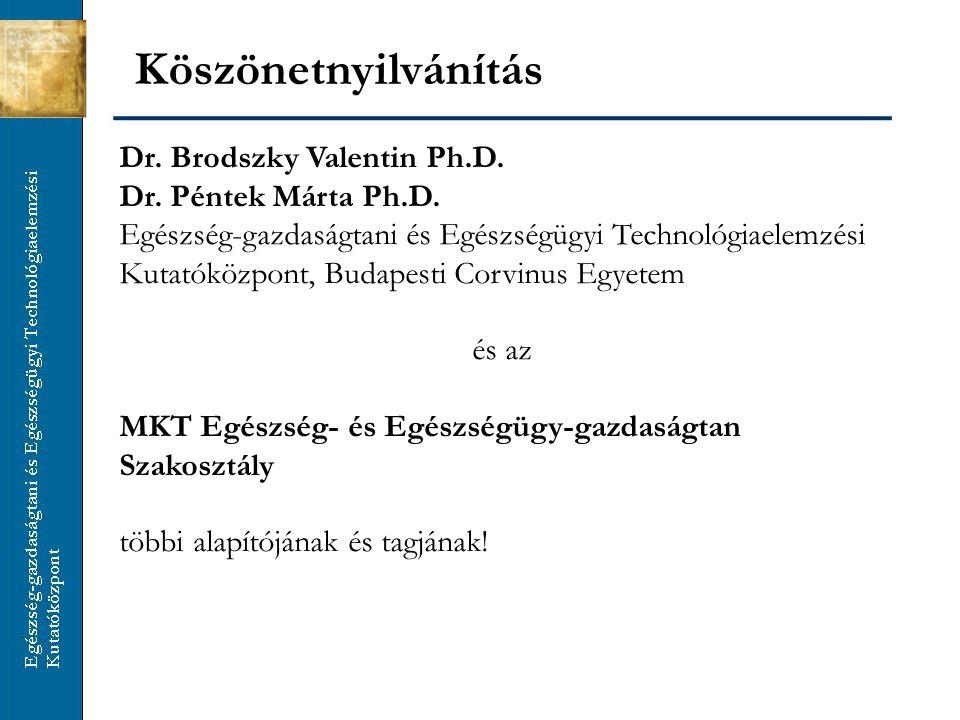 Köszönetnyilvánítás Dr. Brodszky Valentin Ph.D. Dr. Péntek Márta Ph.D. Egészség-gazdaságtani és Egészségügyi Technológiaelemzési Kutatóközpont, Budape