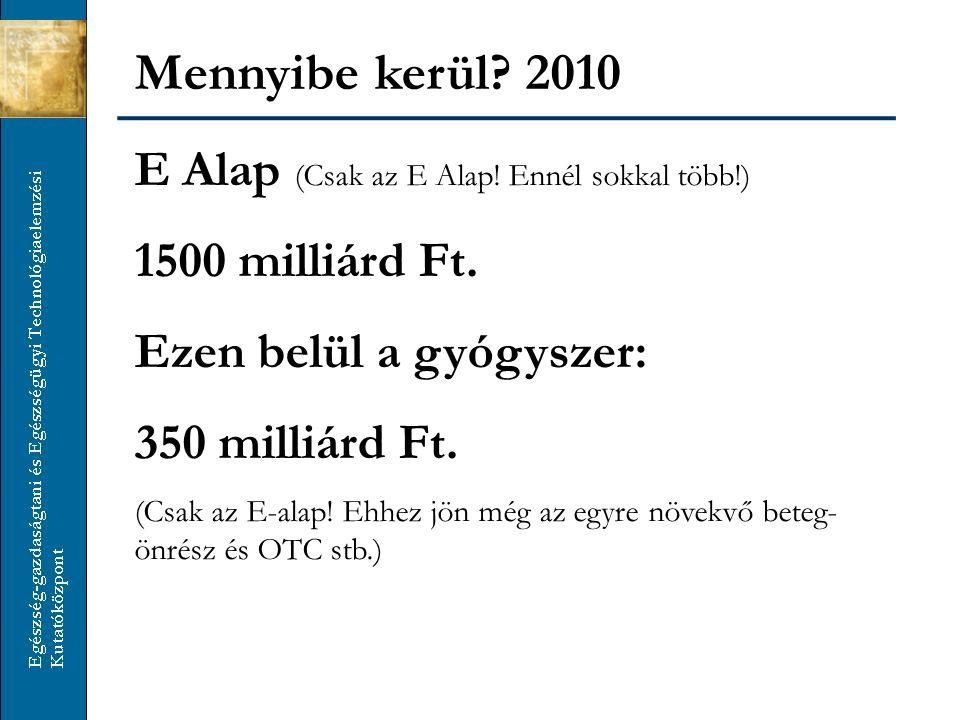 Mennyibe kerül? 2010 E Alap (Csak az E Alap! Ennél sokkal több!) 1500 milliárd Ft. Ezen belül a gyógyszer: 350 milliárd Ft. (Csak az E-alap! Ehhez jön