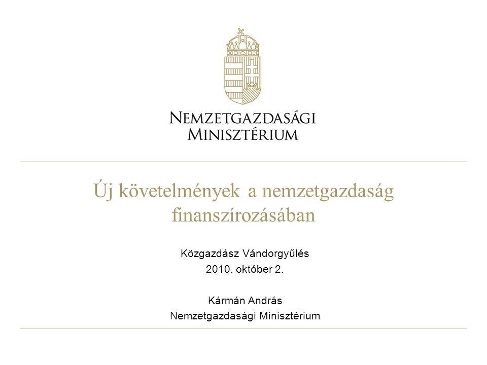 Új követelmények a nemzetgazdaság finanszírozásában Közgazdász Vándorgyűlés 2010.