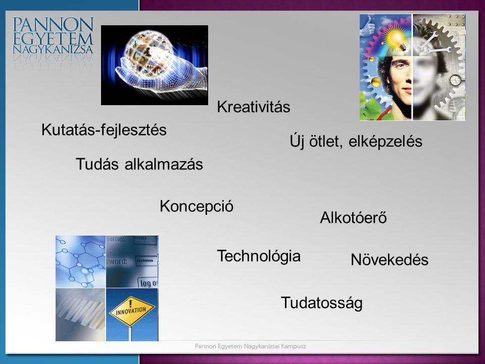 Kutatás-fejlesztés Kreativitás Alkotóerő Új ötlet, elképzelés Koncepció Tudás alkalmazás Növekedés Technológia Tudatosság