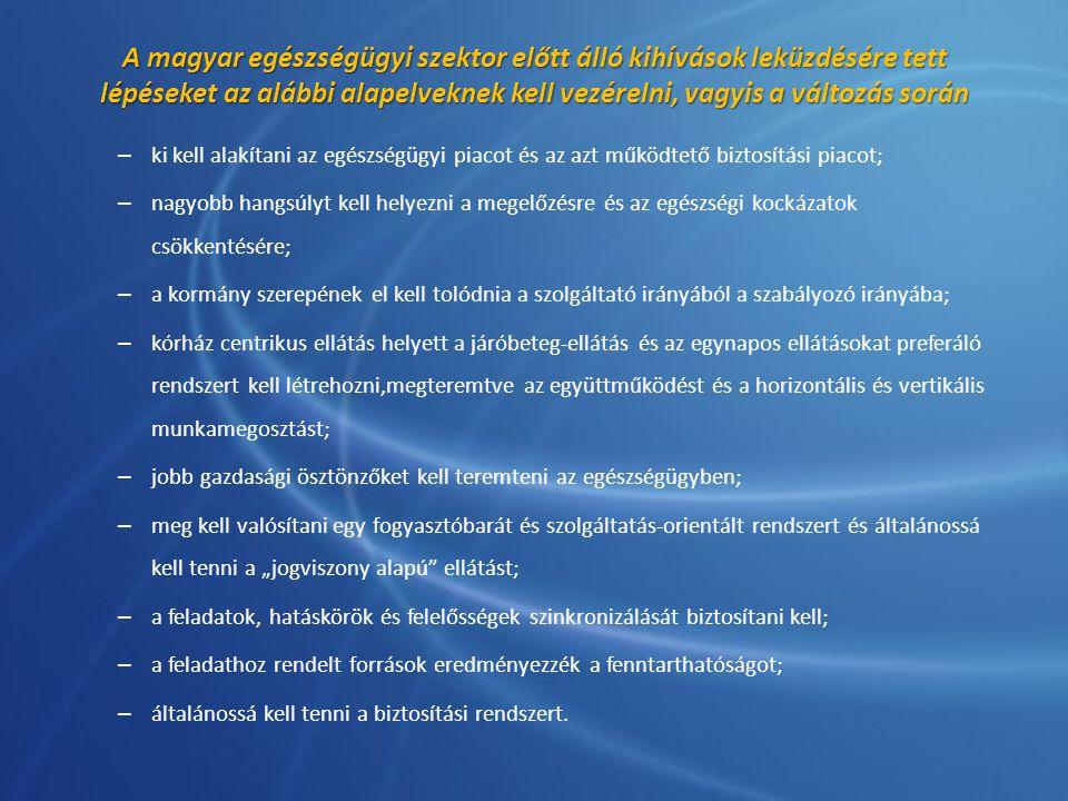 A magyar egészségügyi szektor előtt álló kihívások leküzdésére tett lépéseket az alábbi alapelveknek kell vezérelni, vagyis a változás során – ki kell