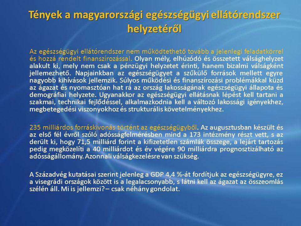 Tények a magyarországi egészségügyi ellátórendszer helyzetéről Az egészségügyi ellátórendszer nem működtethető tovább a jelenlegi feladatkörrel és hoz