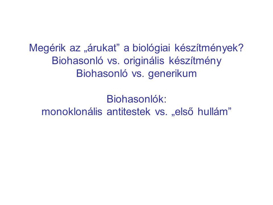 """Megérik az """"árukat"""" a biológiai készítmények? Biohasonló vs. originális készítmény Biohasonló vs. generikum Biohasonlók: monoklonális antitestek vs. """""""