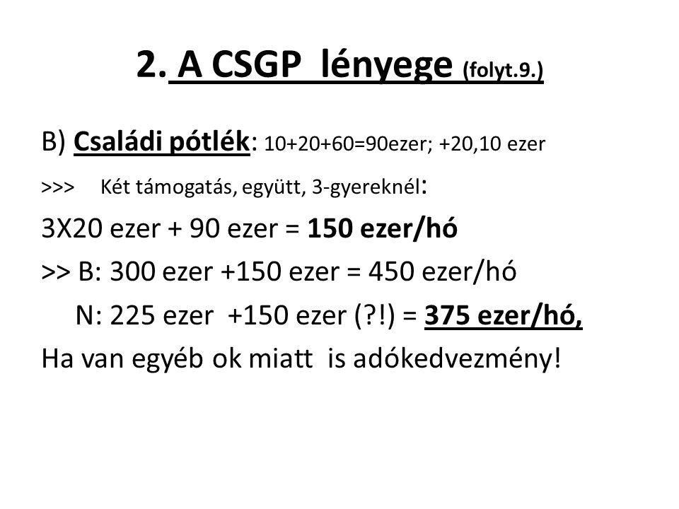 2. A CSGP lényege (folyt.9.) B) Családi pótlék: 10+20+60=90ezer; +20,10 ezer >>> Két támogatás, együtt, 3-gyereknél : 3X20 ezer + 90 ezer = 150 ezer/h