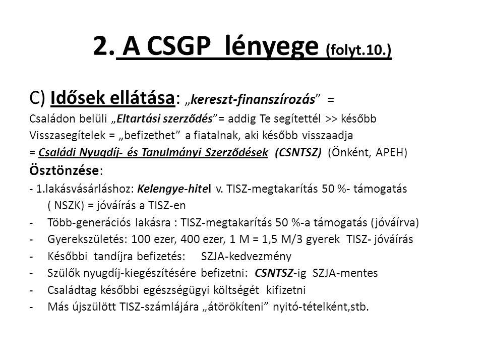 """2. A CSGP lényege (folyt.10.) C) Idősek ellátása: """"kereszt-finanszírozás"""" = Családon belüli """"Eltartási szerződés""""= addig Te segítettél >> később Vissz"""