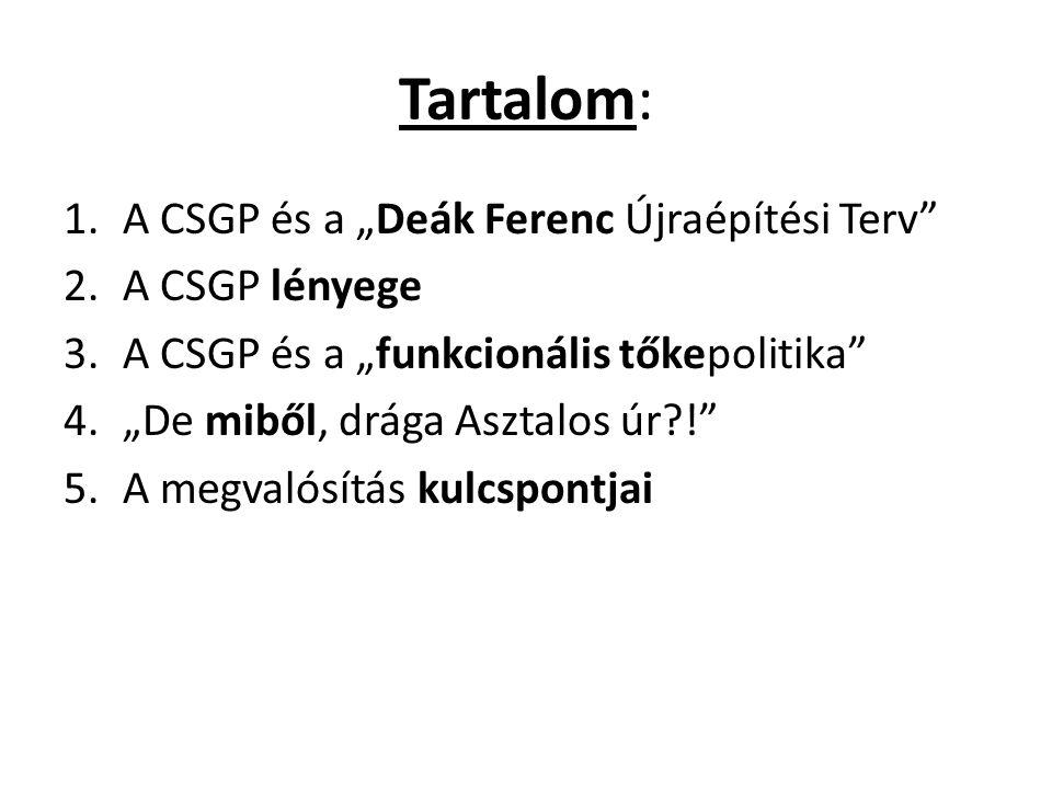 """Tartalom: 1.A CSGP és a """"Deák Ferenc Újraépítési Terv"""" 2.A CSGP lényege 3.A CSGP és a """"funkcionális tőkepolitika"""" 4.""""De miből, drága Asztalos úr?!"""" 5."""