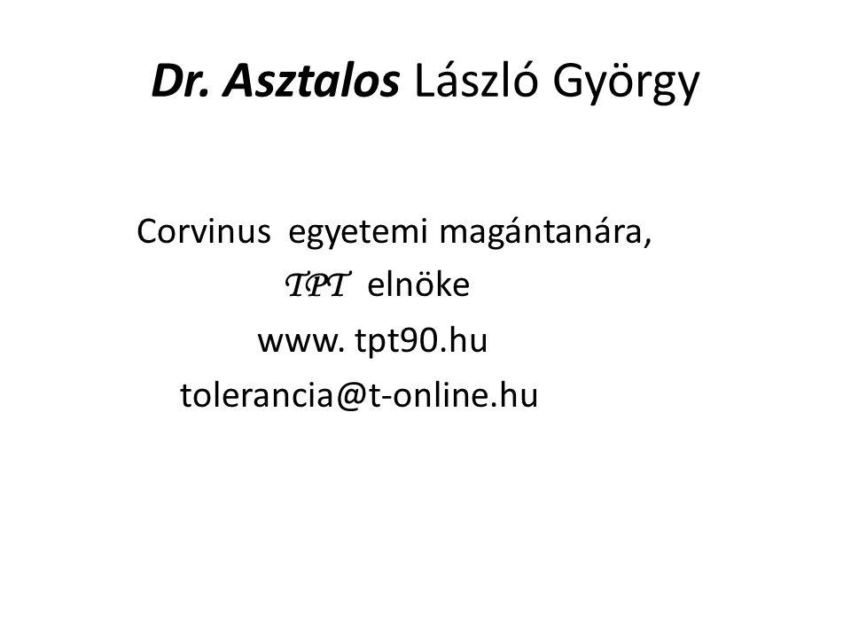 Dr. Asztalos László György Corvinus egyetemi magántanára, TPT elnöke www. tpt90.hu tolerancia@t-online.hu