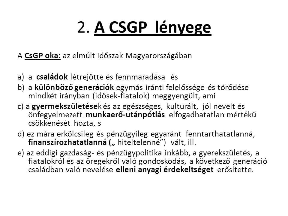 2. A CSGP lényege A CsGP oka: az elmúlt időszak Magyarországában a)a családok létrejötte és fennmaradása és b)a különböző generációk egymás iránti fel