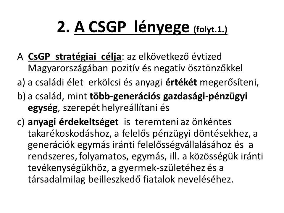 2. A CSGP lényege (folyt.1.) A CsGP stratégiai célja: az elkövetkező évtized Magyarországában pozitív és negatív ösztönzőkkel a)a családi élet erkölcs