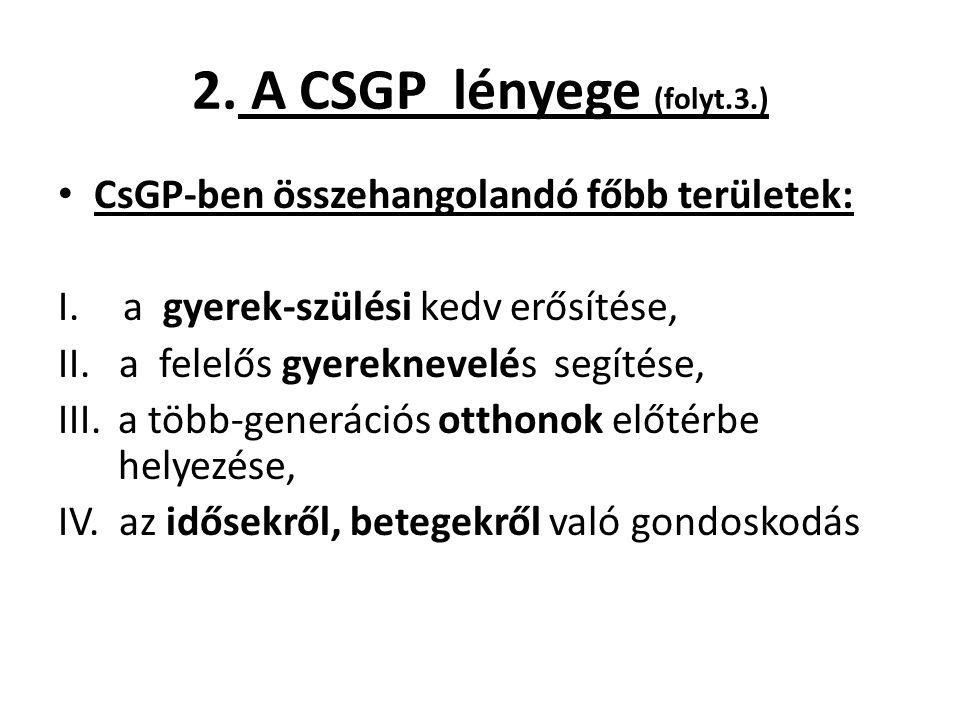 2. A CSGP lényege (folyt.3.) CsGP-ben összehangolandó főbb területek: I. a gyerek-szülési kedv erősítése, II. a felelős gyereknevelés segítése, III.a