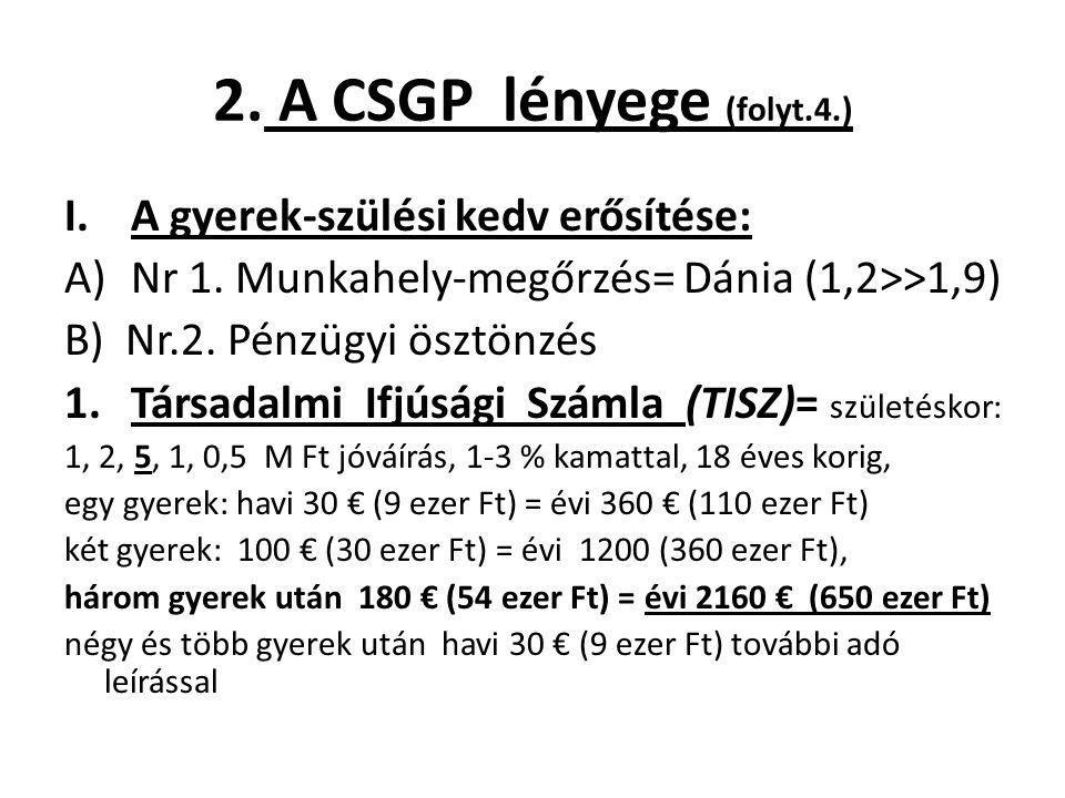 2. A CSGP lényege (folyt.4.) I.A gyerek-szülési kedv erősítése: A)Nr 1. Munkahely-megőrzés= Dánia (1,2>>1,9) B) Nr.2. Pénzügyi ösztönzés 1.Társadalmi