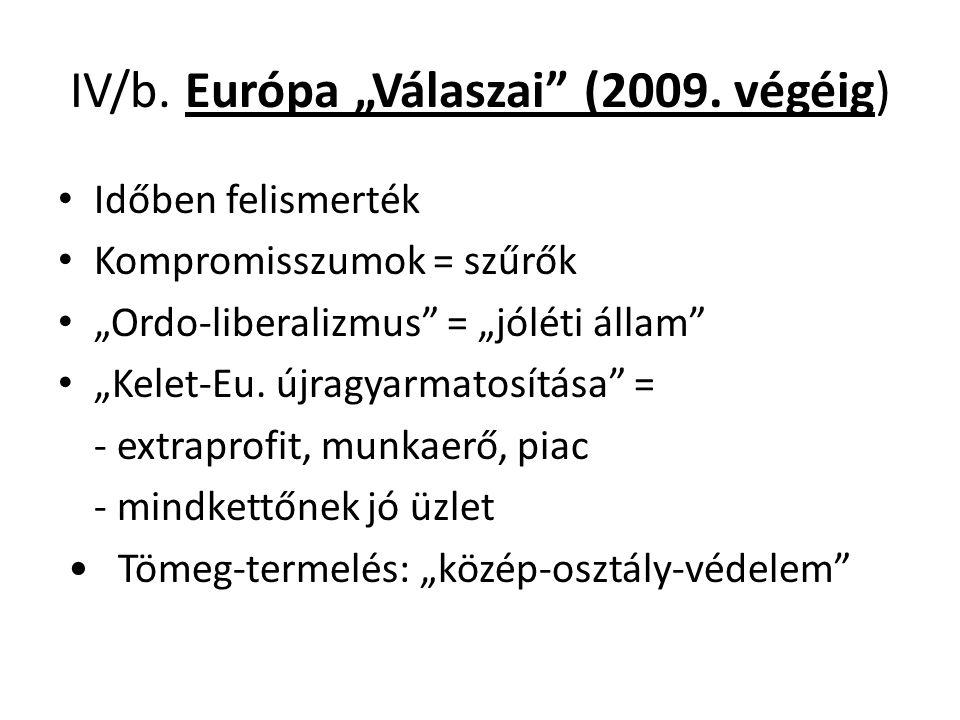 """IV/b. Európa """"Válaszai"""" (2009. végéig) Időben felismerték Kompromisszumok = szűrők """"Ordo-liberalizmus"""" = """"jóléti állam"""" """"Kelet-Eu. újragyarmatosítása"""""""