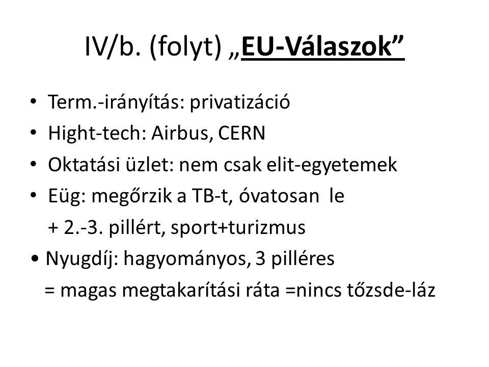 """IV/b. (folyt) """"EU-Válaszok"""" Term.-irányítás: privatizáció Hight-tech: Airbus, CERN Oktatási üzlet: nem csak elit-egyetemek Eüg: megőrzik a TB-t, óvato"""