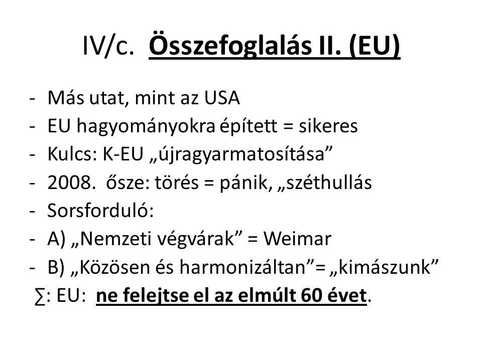 """IV/c. Összefoglalás II. (EU) -Más utat, mint az USA -EU hagyományokra épített = sikeres -Kulcs: K-EU """"újragyarmatosítása"""" -2008. ősze: törés = pánik,"""