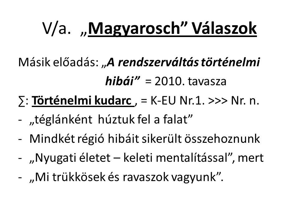 """V/a. """"Magyarosch"""" Válaszok Másik előadás: """"A rendszerváltás történelmi hibái"""" = 2010. tavasza ∑: Történelmi kudarc, = K-EU Nr.1. >>> Nr. n. -""""téglánké"""
