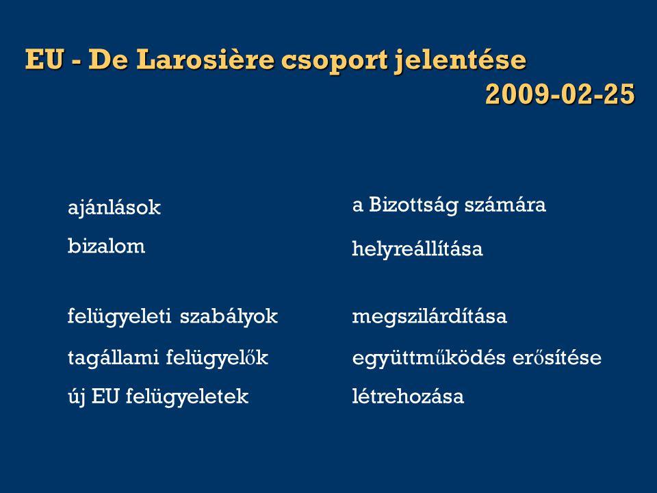 EU - De Larosière csoport jelentése 2009-02-25 helyreállítása bizalom ajánlások a Bizottság számára tagállami felügyel ő kegyüttm ű ködés er ő sítése felügyeleti szabályokmegszilárdítása új EU felügyeleteklétrehozása