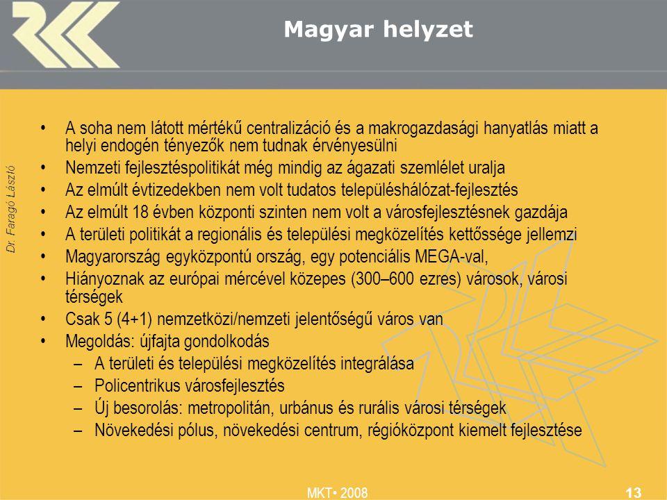 Dr. Faragó László MKT 2008 13 Magyar helyzet A soha nem látott mértékű centralizáció és a makrogazdasági hanyatlás miatt a helyi endogén tényezők nem