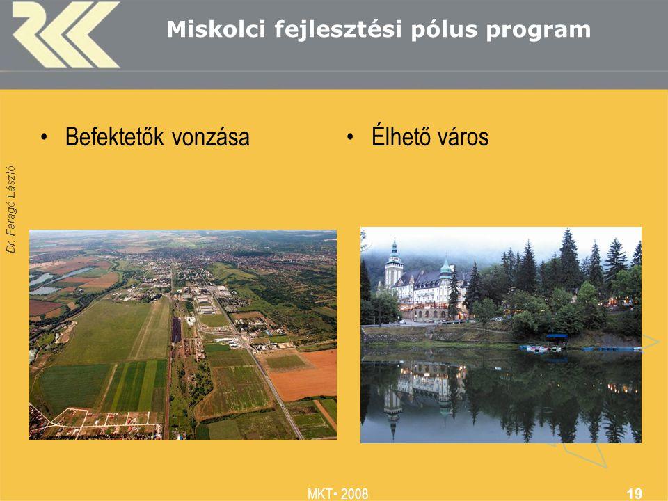 Dr. Faragó László MKT 2008 19 Miskolci fejlesztési pólus program Befektetők vonzásaÉlhető város