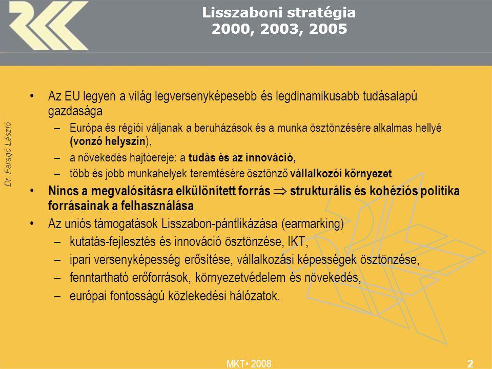 Dr. Faragó László MKT 2008 2 Lisszaboni stratégia 2000, 2003, 2005 Az EU legyen a világ legversenyképesebb és legdinamikusabb tudásalapú gazdasága –Eu
