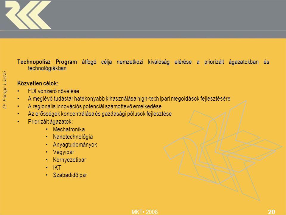 Dr. Faragó László MKT 2008 20 tfogó célja nemzetközi kiválóság elérése a priorizált ágazatokban és technológiákban Technopolisz Program átfogó célja n
