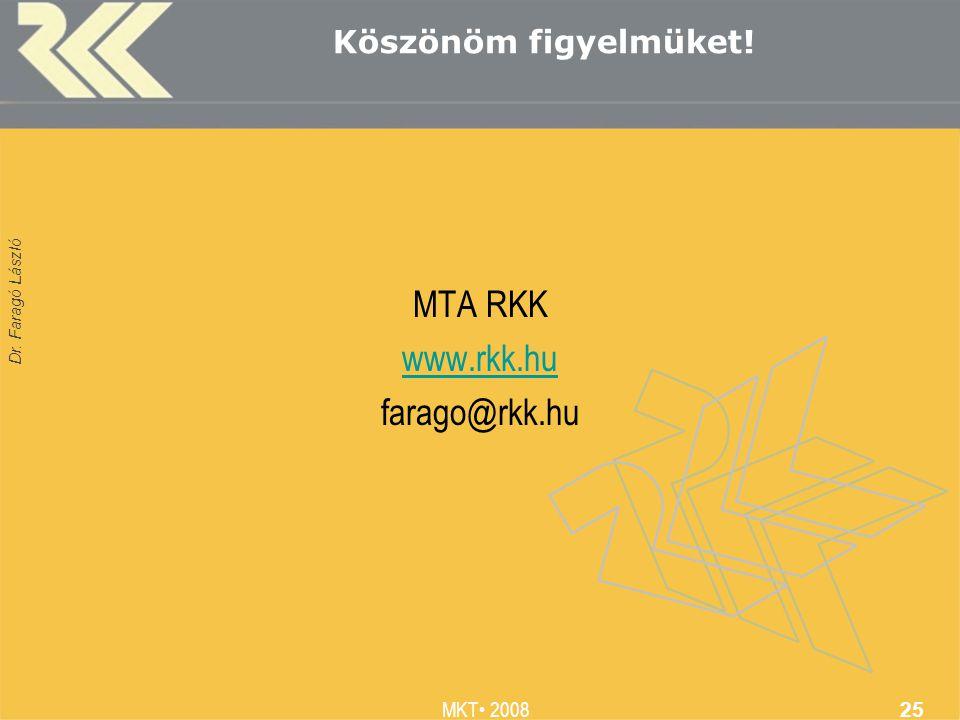 Dr. Faragó László MKT 2008 25 Köszönöm figyelmüket! MTA RKK www.rkk.hu farago@rkk.hu
