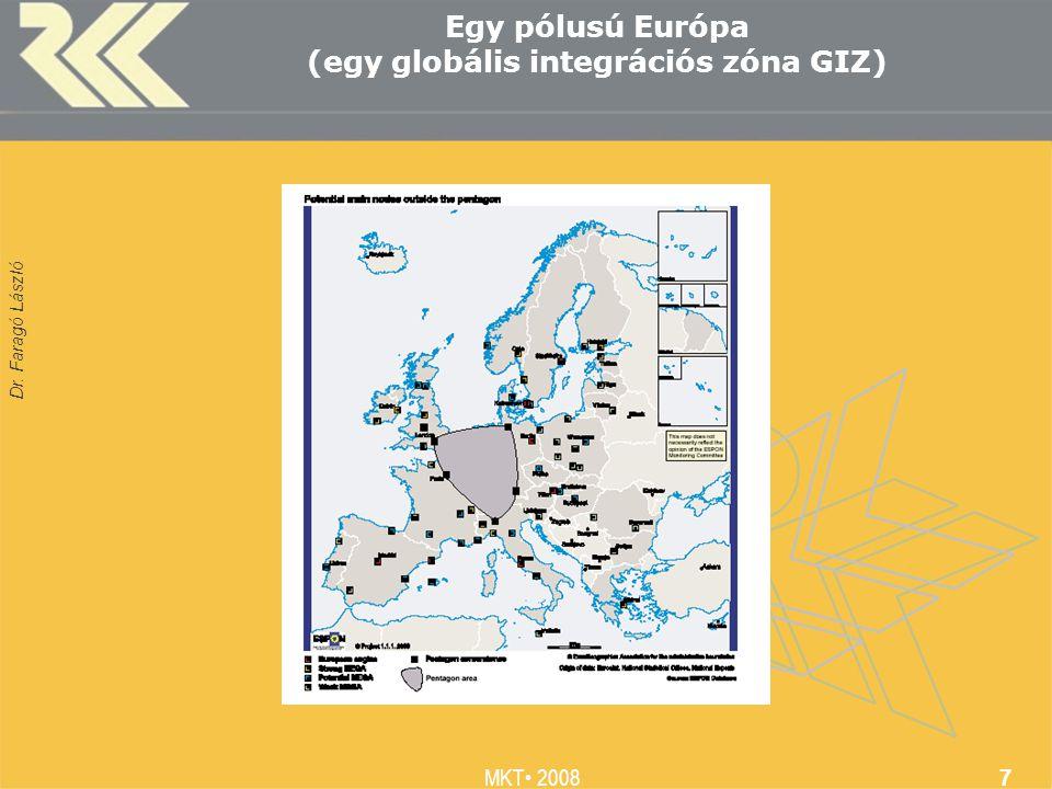 Dr. Faragó László MKT 2008 7 Egy pólusú Európa (egy globális integrációs zóna GIZ)