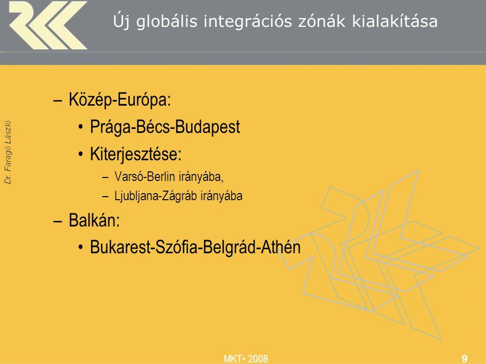 Dr. Faragó László MKT 2008 9 Új globális integrációs zónák kialakítása –Közép-Európa: Prága-Bécs-Budapest Kiterjesztése: –Varsó-Berlin irányába, –Ljub