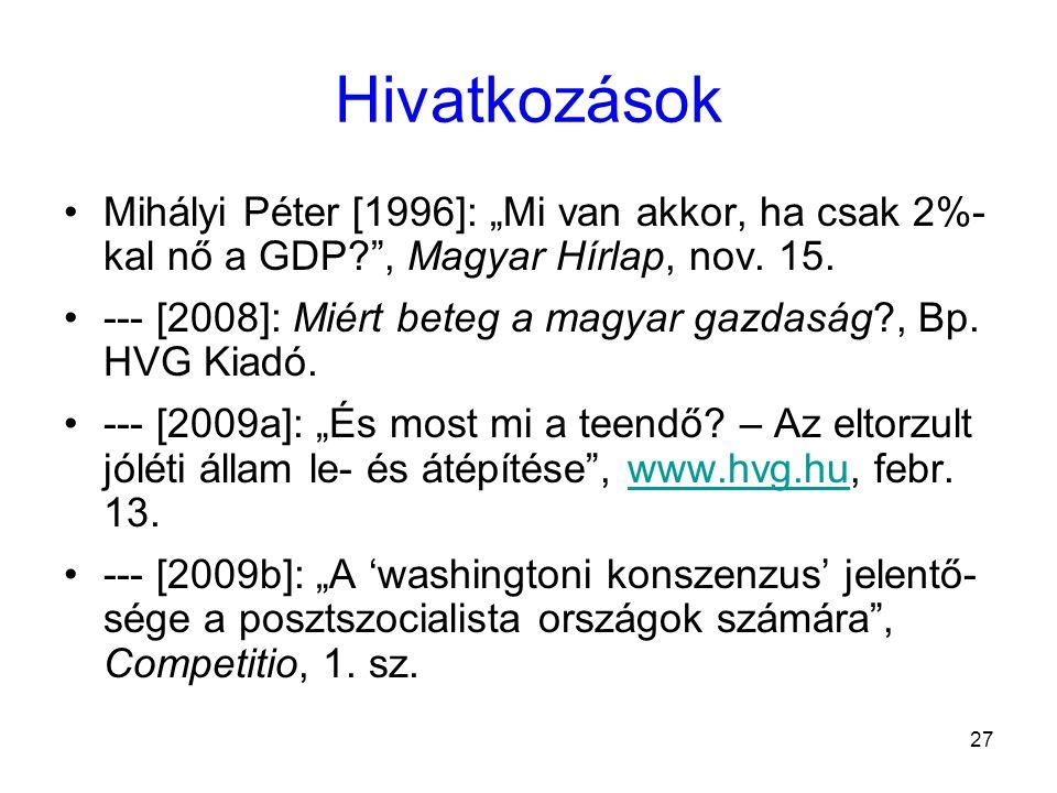 """27 Hivatkozások Mihályi Péter [1996]: """"Mi van akkor, ha csak 2%- kal nő a GDP? , Magyar Hírlap, nov."""