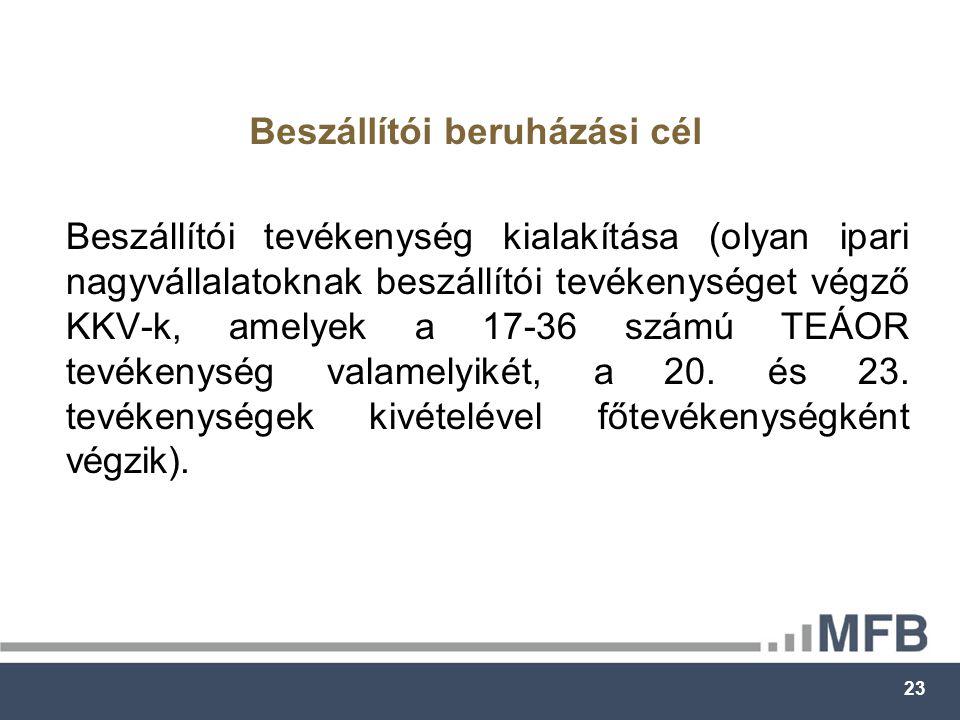 23 Beszállítói tevékenység kialakítása (olyan ipari nagyvállalatoknak beszállítói tevékenységet végző KKV-k, amelyek a 17-36 számú TEÁOR tevékenység valamelyikét, a 20.