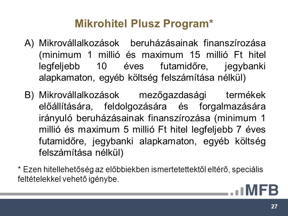 27 Mikrohitel Plusz Program* * Ezen hitellehetőség az előbbiekben ismertetettektől eltérő, speciális feltételekkel vehető igénybe.