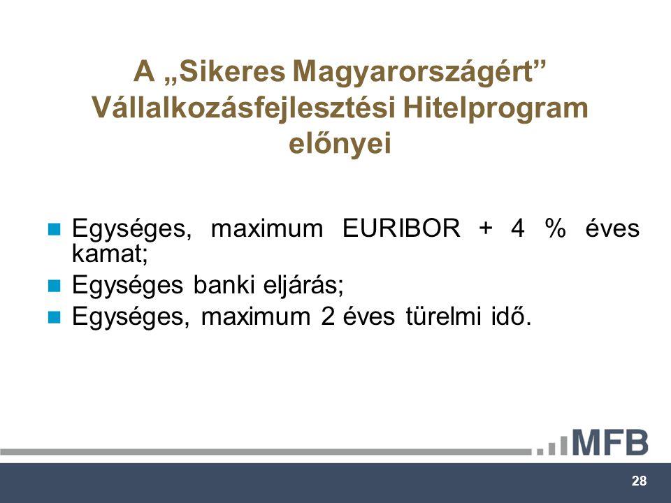 """28 A """"Sikeres Magyarországért Vállalkozásfejlesztési Hitelprogram előnyei Egységes, maximum EURIBOR + 4 % éves kamat; Egységes banki eljárás; Egységes, maximum 2 éves türelmi idő."""
