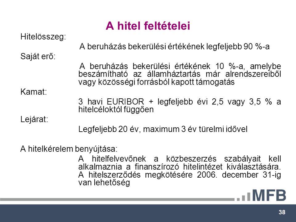 38 A hitel feltételei Hitelösszeg: A beruházás bekerülési értékének legfeljebb 90 %-a Saját erő: A beruházás bekerülési értékének 10 %-a, amelybe beszámítható az államháztartás már alrendszereiből vagy közösségi forrásból kapott támogatás Kamat: 3 havi EURIBOR + legfeljebb évi 2,5 vagy 3,5 % a hitelcéloktól függően Lejárat: Legfeljebb 20 év, maximum 3 év türelmi idővel A hitelkérelem benyújtása: A hitelfelvevőnek a közbeszerzés szabályait kell alkalmaznia a finanszírozó hitelintézet kiválasztására.