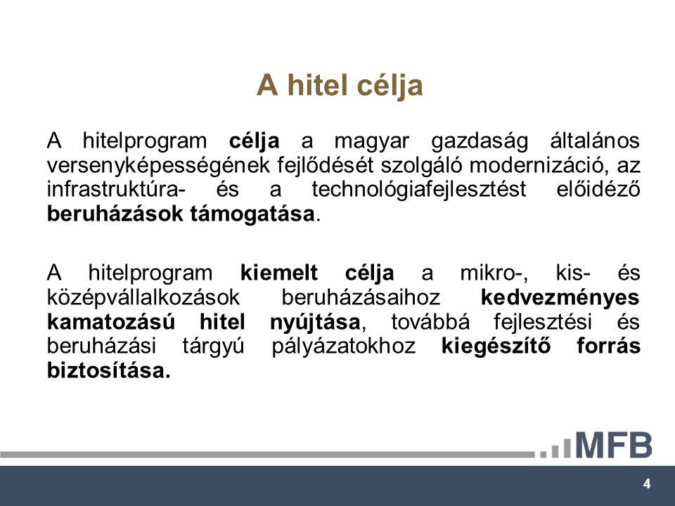 4 A hitel célja A hitelprogram célja a magyar gazdaság általános versenyképességének fejlődését szolgáló modernizáció, az infrastruktúra- és a technológiafejlesztést előidéző beruházások támogatása.